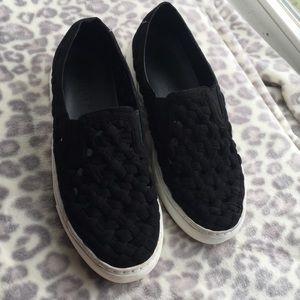 1 state black slip on sneakers